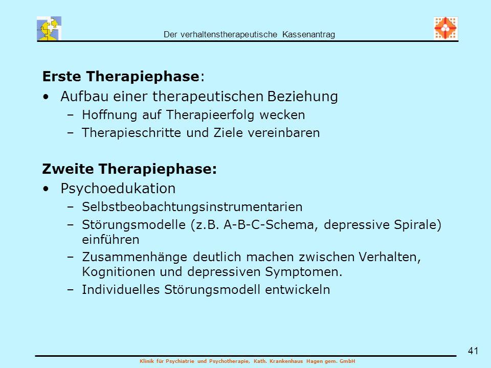 Der verhaltenstherapeutische Kassenantrag Klinik für Psychiatrie und Psychotherapie, Kath. Krankenhaus Hagen gem. GmbH 41 Erste Therapiephase: Aufbau