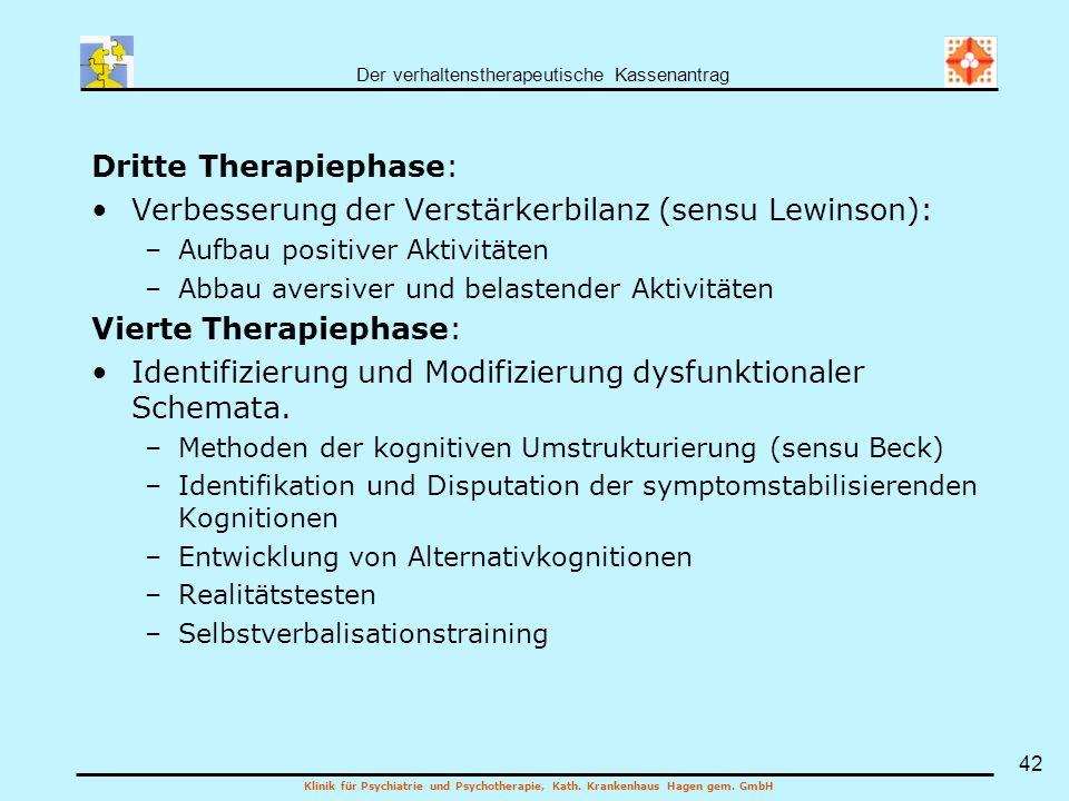 Der verhaltenstherapeutische Kassenantrag Klinik für Psychiatrie und Psychotherapie, Kath. Krankenhaus Hagen gem. GmbH 42 Dritte Therapiephase: Verbes