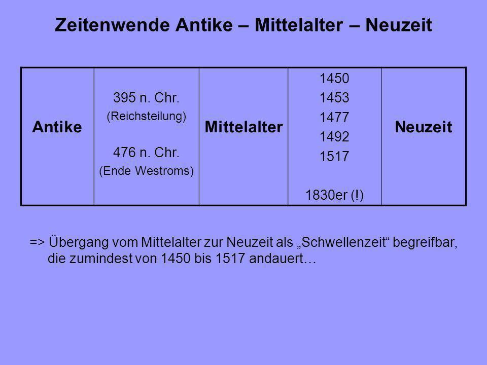 Zeitenwende Antike – Mittelalter – Neuzeit => Übergang vom Mittelalter zur Neuzeit als Schwellenzeit begreifbar, die zumindest von 1450 bis 1517 andau