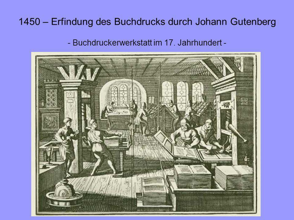 1450 – Erfindung des Buchdrucks durch Johann Gutenberg - Buchdruckerwerkstatt im 17. Jahrhundert -