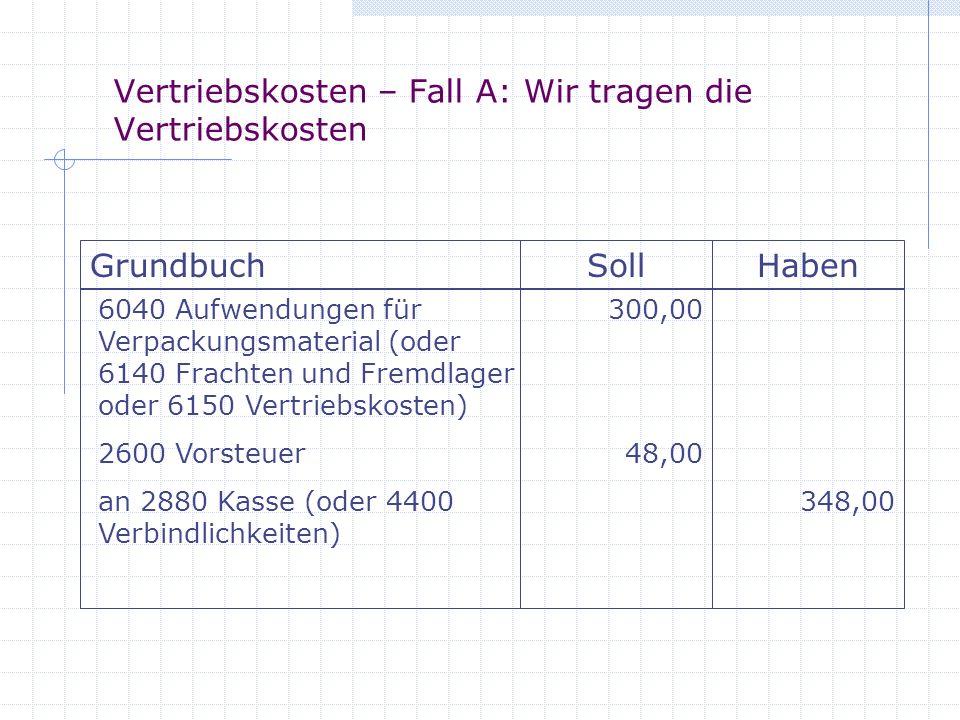 Vertriebskosten – Fall A: Wir tragen die Vertriebskosten GrundbuchSollHaben 6040 Aufwendungen für Verpackungsmaterial (oder 6140 Frachten und Fremdlag