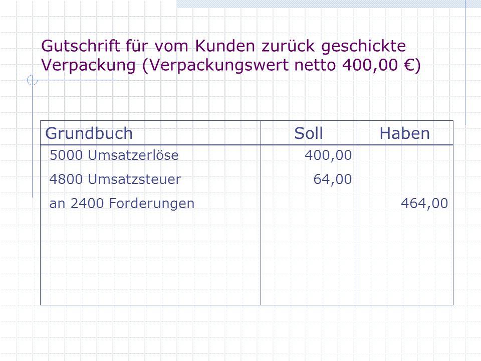 Gutschrift für vom Kunden zurück geschickte Verpackung (Verpackungswert netto 400,00 ) GrundbuchSollHaben 5000 Umsatzerlöse 4800 Umsatzsteuer an 2400