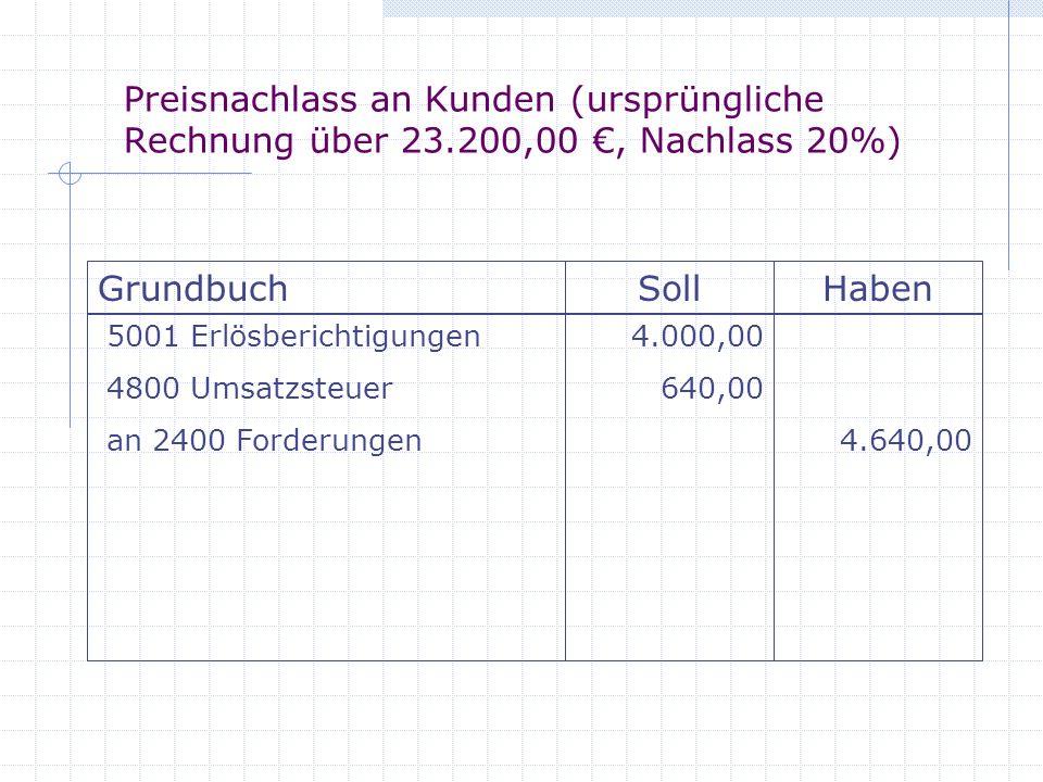 Preisnachlass an Kunden (ursprüngliche Rechnung über 23.200,00, Nachlass 20%) GrundbuchSollHaben 5001 Erlösberichtigungen 4800 Umsatzsteuer an 2400 Fo