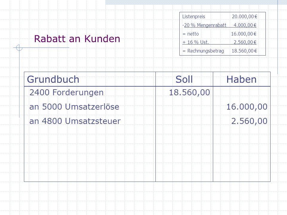 Rabatt an Kunden GrundbuchSollHaben 2400 Forderungen an 5000 Umsatzerlöse an 4800 Umsatzsteuer 18.560,00 16.000,00 2.560,00 Listenpreis 20.000,00 -20