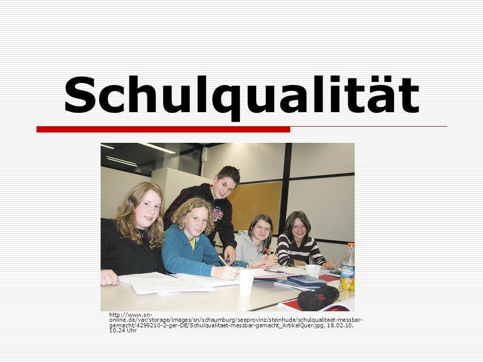 Schulqualität Definition: normativer Begriff vielfältige und heterogene Qualitätsansprüche abhängig von Anspruchsgruppe Schüler Lehrer Schulleitung Eltern Gesellschaft