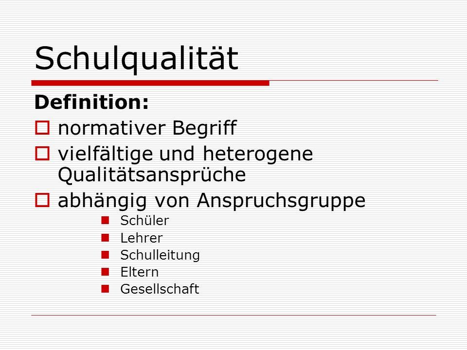 Schulqualität Definition: normativer Begriff vielfältige und heterogene Qualitätsansprüche abhängig von Anspruchsgruppe Schüler Lehrer Schulleitung El