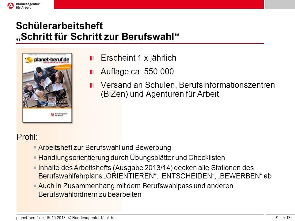 Seite 13 planet-beruf.de, 15.10.2013, © Bundesagentur für Arbeit Schülerarbeitsheft Schritt für Schritt zur Berufswahl Erscheint 1 x jährlich Auflage