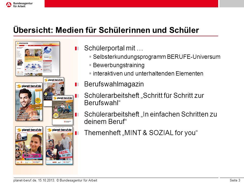 Seite 3 planet-beruf.de, 15.10.2013, © Bundesagentur für Arbeit Übersicht: Medien für Schülerinnen und Schüler Schülerportal mit … Selbsterkundungspro