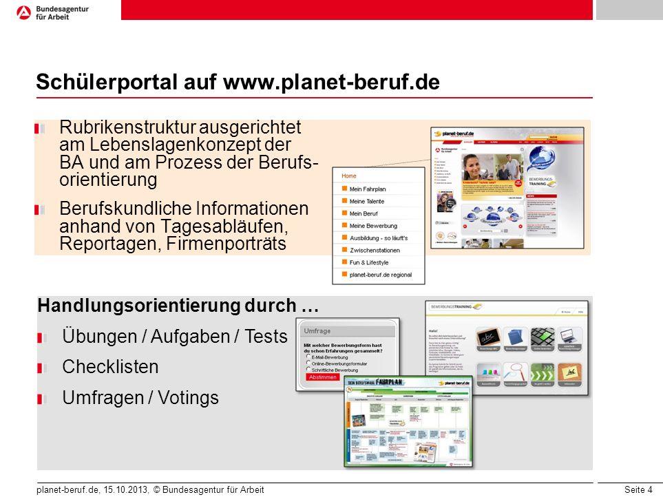 Seite 4 planet-beruf.de, 15.10.2013, © Bundesagentur für Arbeit Rubrikenstruktur ausgerichtet am Lebenslagenkonzept der BA und am Prozess der Berufs-