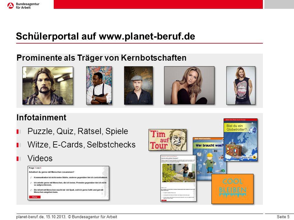 Seite 5 planet-beruf.de, 15.10.2013, © Bundesagentur für Arbeit Schülerportal auf www.planet-beruf.de Prominente als Träger von Kernbotschaften Infota