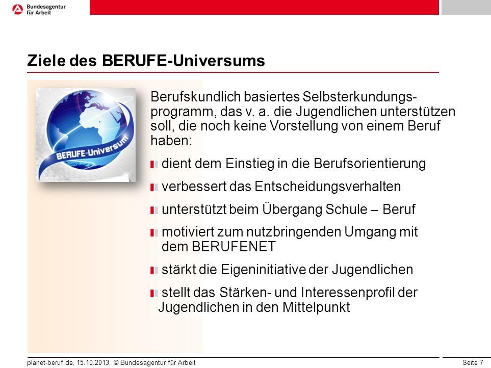 Seite 7 planet-beruf.de, 15.10.2013, © Bundesagentur für Arbeit Ziele des BERUFE-Universums Berufskundlich basiertes Selbsterkundungs- programm, das v