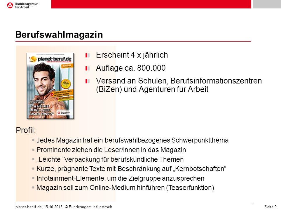 Seite 9 planet-beruf.de, 15.10.2013, © Bundesagentur für Arbeit Berufswahlmagazin Erscheint 4 x jährlich Auflage ca. 800.000 Versand an Schulen, Beruf