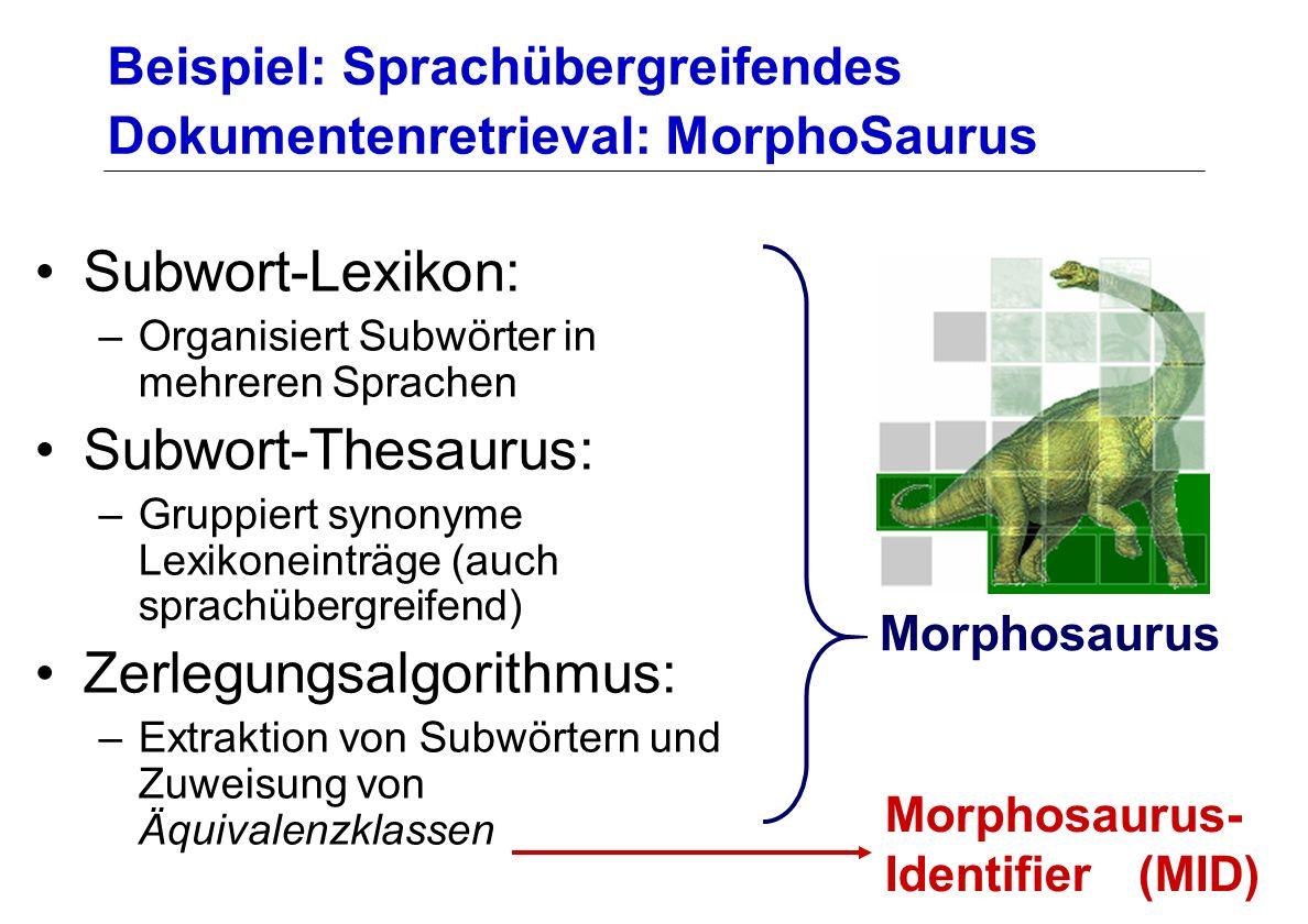 Beispiel: Sprachübergreifendes Dokumentenretrieval: MorphoSaurus Subwort-Lexikon: –Organisiert Subwörter in mehreren Sprachen Subwort-Thesaurus: –Grup