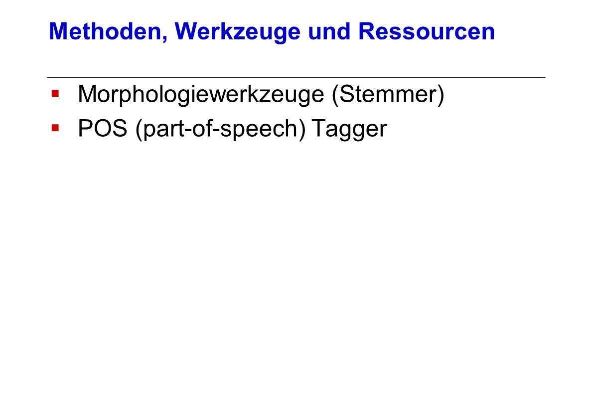 Morphologiewerkzeuge (Stemmer) POS (part-of-speech) Tagger Methoden, Werkzeuge und Ressourcen
