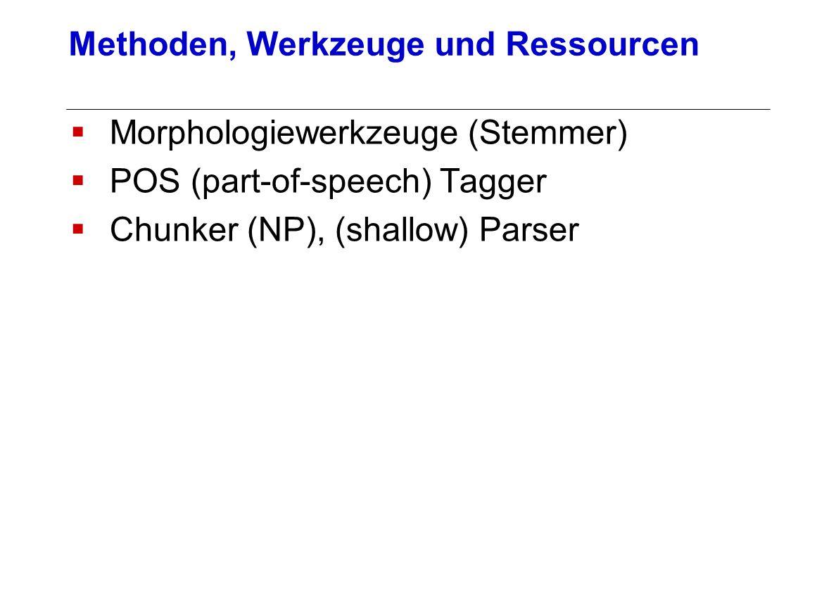 Morphologiewerkzeuge (Stemmer) POS (part-of-speech) Tagger Chunker (NP), (shallow) Parser Methoden, Werkzeuge und Ressourcen
