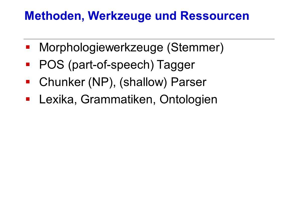 Morphologiewerkzeuge (Stemmer) POS (part-of-speech) Tagger Chunker (NP), (shallow) Parser Lexika, Grammatiken, Ontologien Methoden, Werkzeuge und Ress