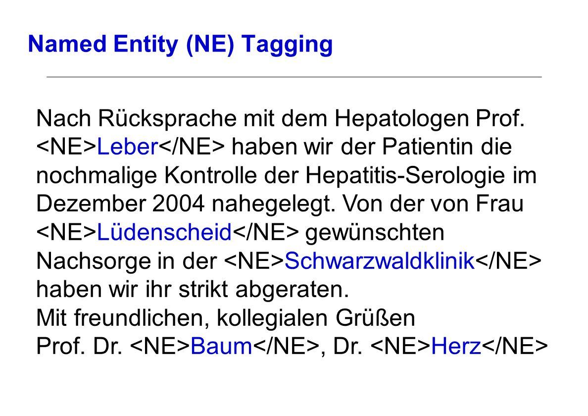 Named Entity (NE) Tagging Nach Rücksprache mit dem Hepatologen Prof. Leber haben wir der Patientin die nochmalige Kontrolle der Hepatitis-Serologie im