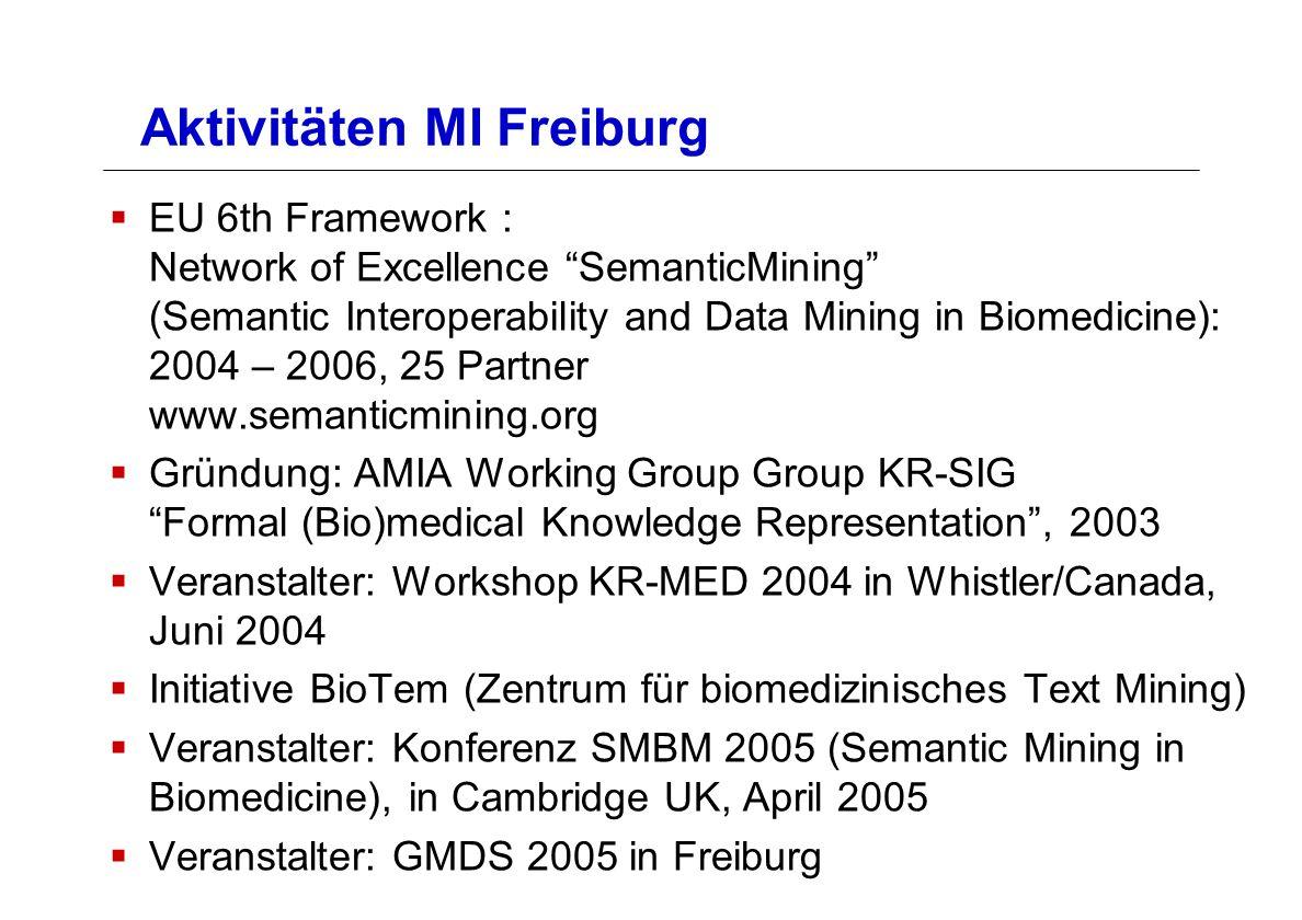 Aktivitäten MI Freiburg EU 6th Framework : Network of Excellence SemanticMining (Semantic Interoperability and Data Mining in Biomedicine): 2004 – 200