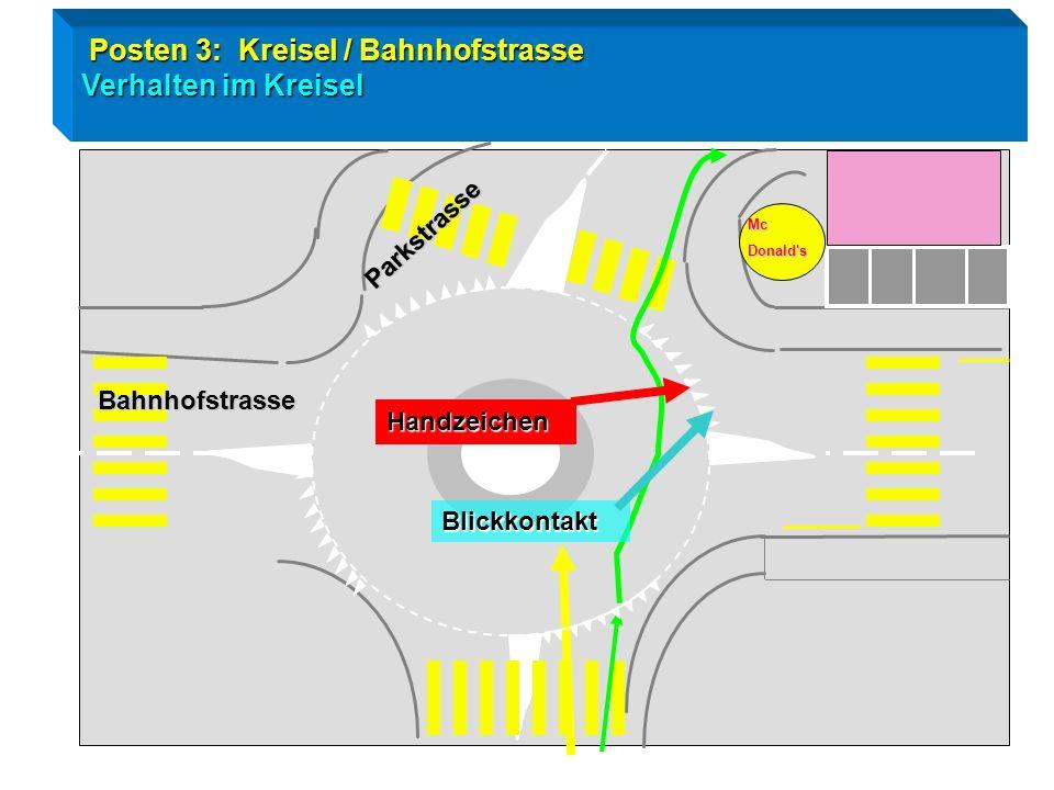 Radtest Goldau / Posten 3 Kreiseleinfahrt / Trottoir Tempo mässigen / Fahrzeug von links haben Vortritt ! Trottoir Rigistrasse Achtung Fussgänger habe