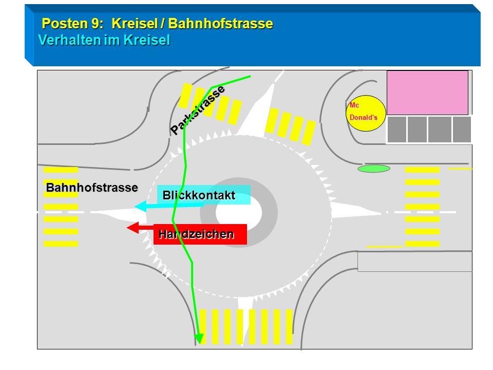 Radtest Goldau / Posten 9 Kreisleinfahrt Tempo / Fahrzeuge von linbks haben Vortritt !