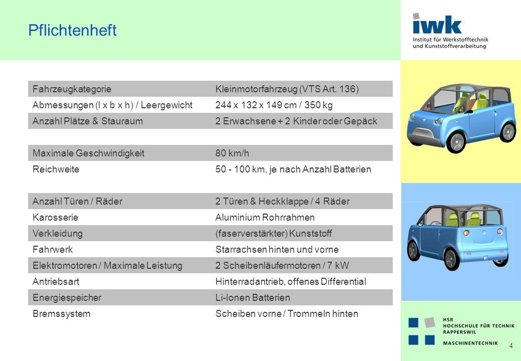 15 Chassis & Karosserie Aluminium Gitterrohrrahmen (Space-frame) Verbindung über Eckbleche mit Kaltfügetechniken (Kleben & Nieten) Hinterwagen: Motorenträgerplatte mit Antriebselementen