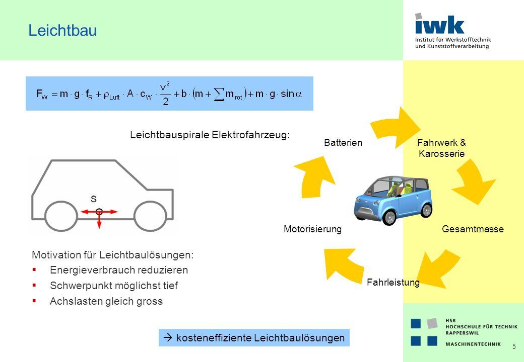 5 Leichtbau Motivation für Leichtbaulösungen: Energieverbrauch reduzieren Schwerpunkt möglichst tief Achslasten gleich gross Leichtbauspirale Elektrofahrzeug: kosteneffiziente Leichtbaulösungen