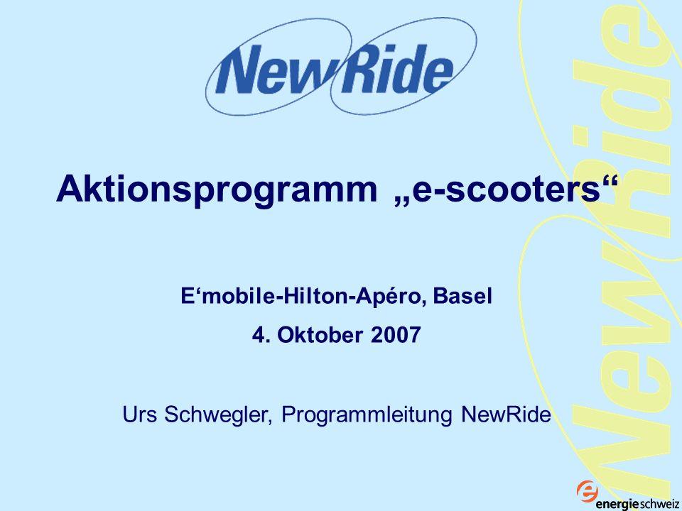 Inhalt Das Aktionsprogramm e-scooters Die Akteure des Aktionsprogramms E-scooters als nachhaltige Verkehrsmittel Ausblick Bisherige Erfahrungen Portrait NewRide Internationale Zusammenarbeit