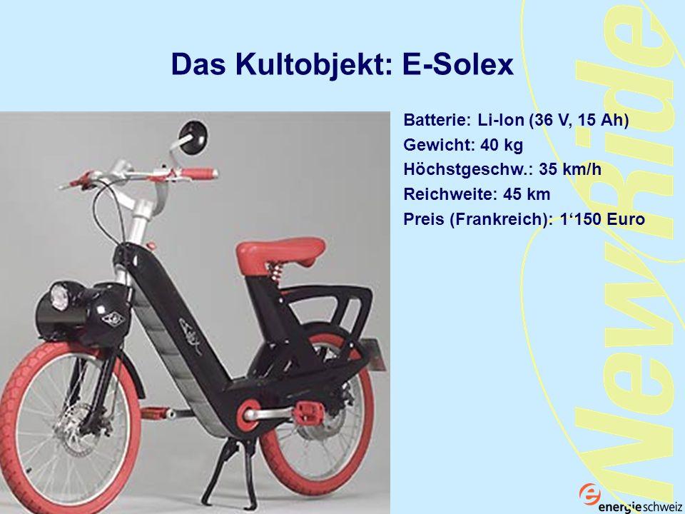 Das Kultobjekt: E-Solex Batterie: Li-Ion (36 V, 15 Ah) Gewicht: 40 kg Höchstgeschw.: 35 km/h Reichweite: 45 km Preis (Frankreich): 1150 Euro