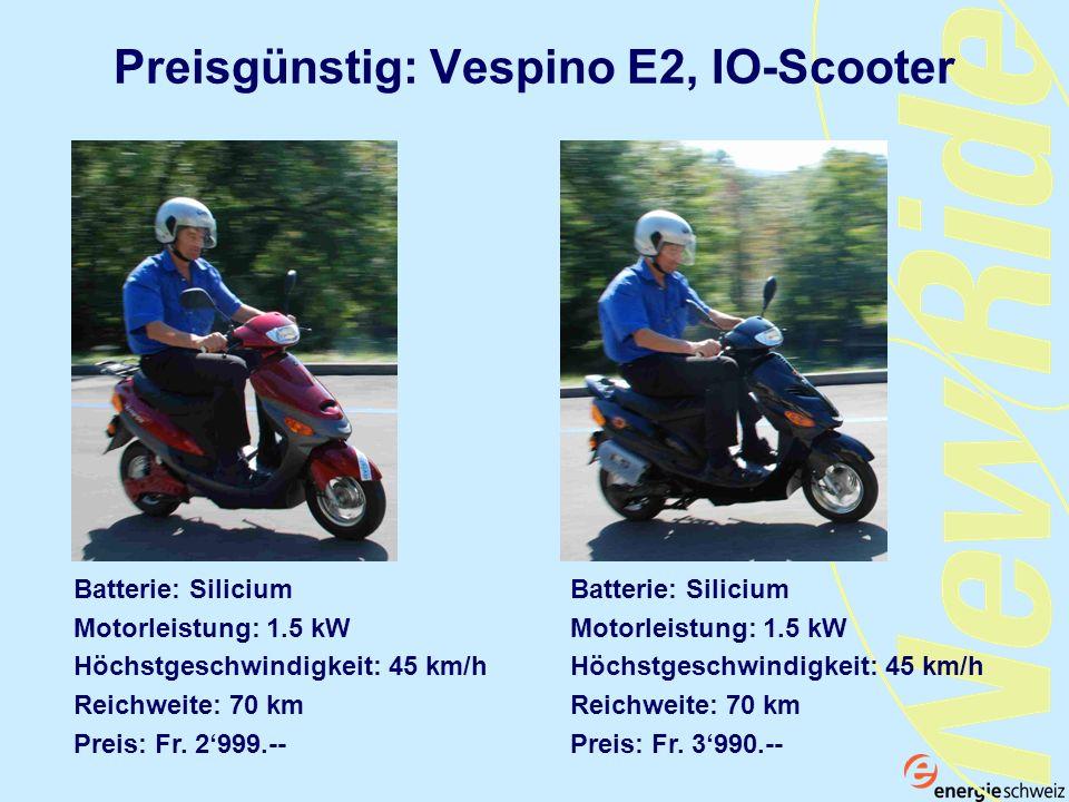 Preisgünstig: Vespino E2, IO-Scooter Batterie: Silicium Motorleistung: 1.5 kW Höchstgeschwindigkeit: 45 km/h Reichweite: 70 km Preis: Fr. 2999.-- Batt