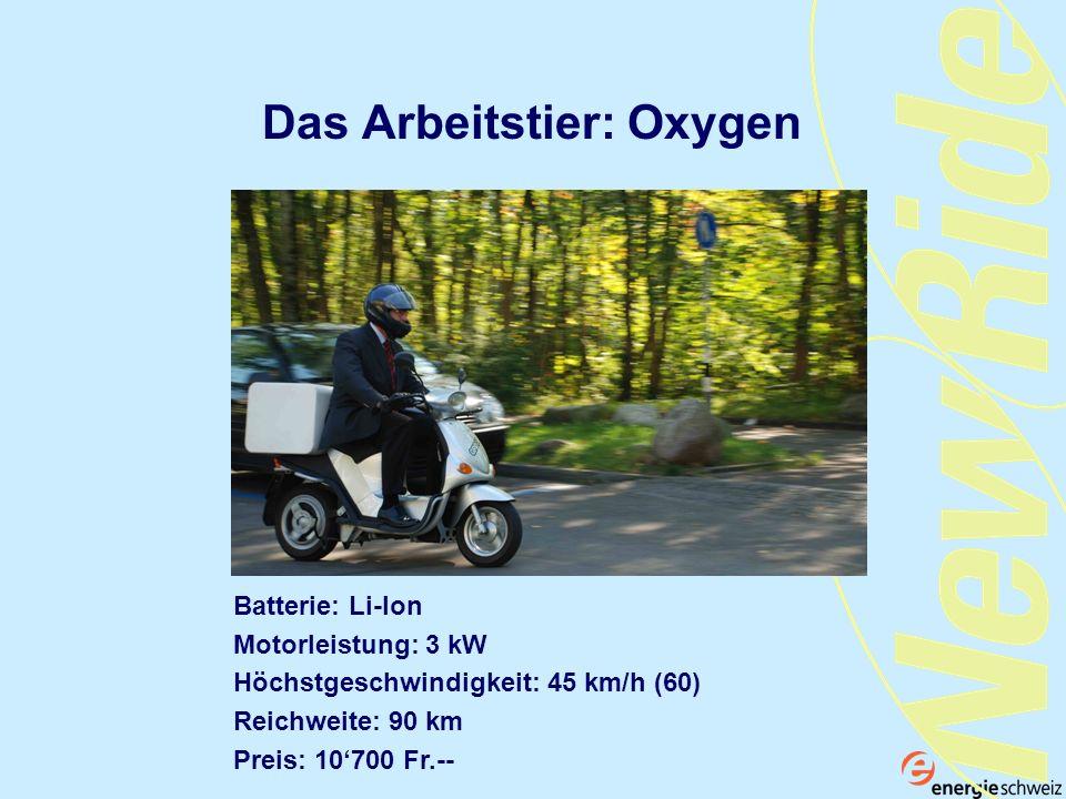 Das Arbeitstier: Oxygen Batterie: Li-Ion Motorleistung: 3 kW Höchstgeschwindigkeit: 45 km/h (60) Reichweite: 90 km Preis: 10700 Fr.--