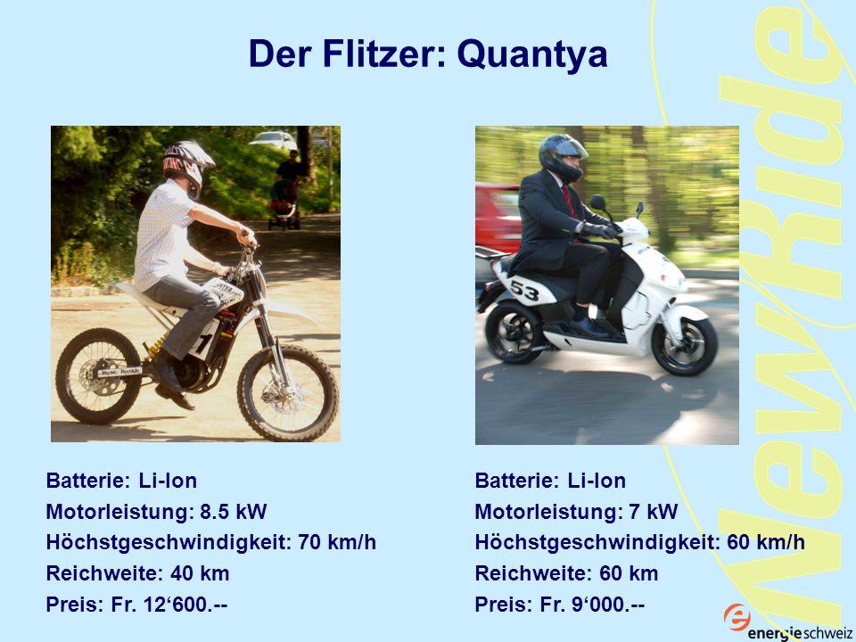 Der Flitzer: Quantya Batterie: Li-Ion Motorleistung: 8.5 kW Höchstgeschwindigkeit: 70 km/h Reichweite: 40 km Preis: Fr. 12600.-- Batterie: Li-Ion Moto