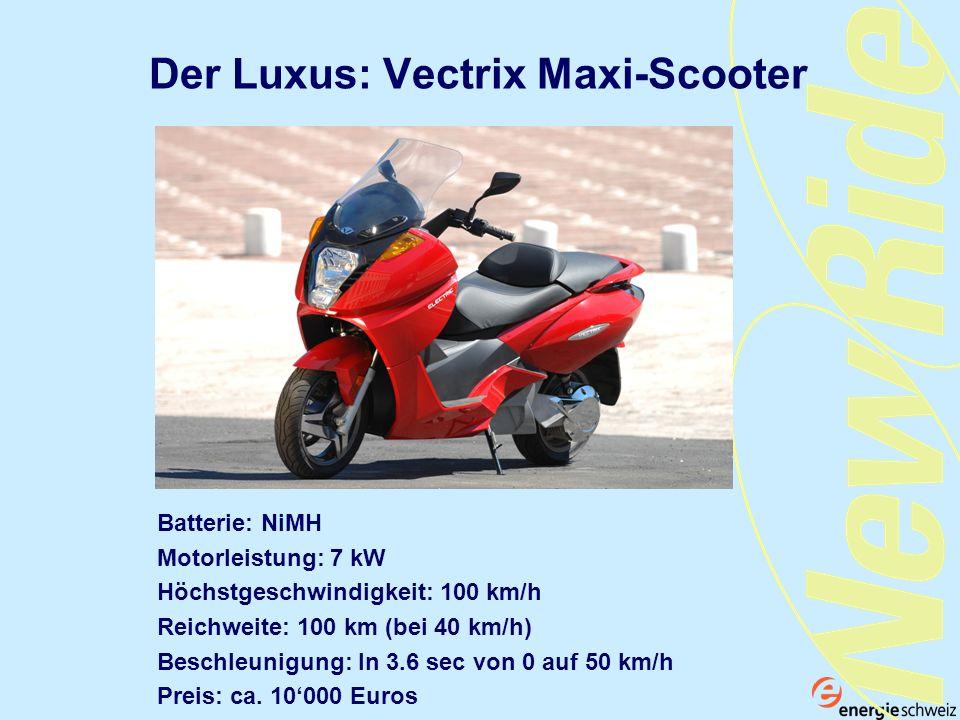 Der Luxus: Vectrix Maxi-Scooter Batterie: NiMH Motorleistung: 7 kW Höchstgeschwindigkeit: 100 km/h Reichweite: 100 km (bei 40 km/h) Beschleunigung: In