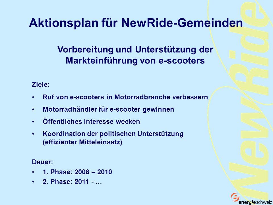 Aktionsplan für NewRide-Gemeinden Ziele: Ruf von e-scooters in Motorradbranche verbessern Motorradhändler für e-scooter gewinnen Öffentliches Interess