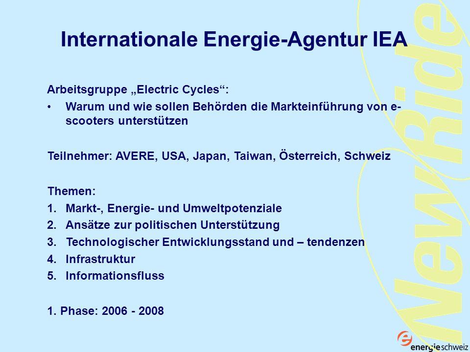 Internationale Energie-Agentur IEA Arbeitsgruppe Electric Cycles: Warum und wie sollen Behörden die Markteinführung von e- scooters unterstützen Theme