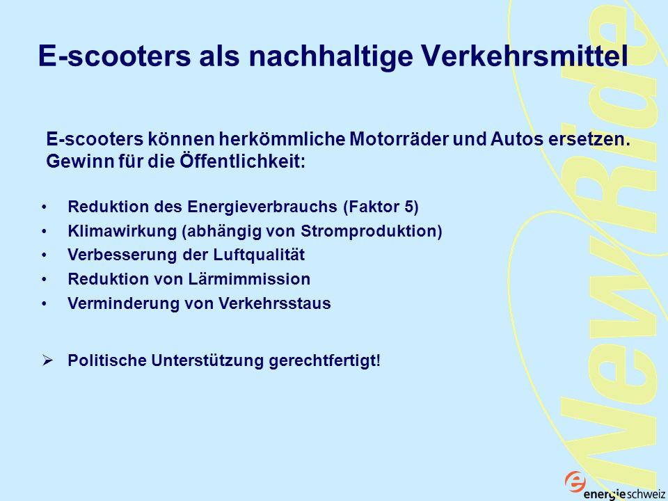 E-scooters als nachhaltige Verkehrsmittel Reduktion des Energieverbrauchs (Faktor 5) Klimawirkung (abhängig von Stromproduktion) Verbesserung der Luft