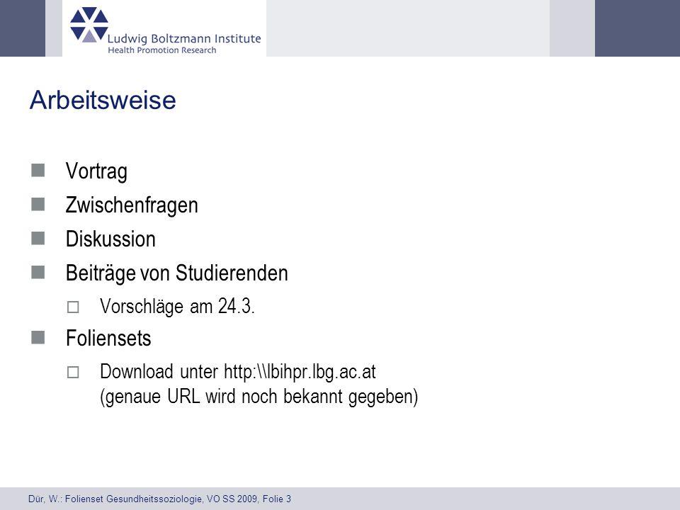 Dür, W.: Folienset Gesundheitssoziologie, VO SS 2009, Folie 3 Arbeitsweise Vortrag Zwischenfragen Diskussion Beiträge von Studierenden Vorschläge am 24.3.