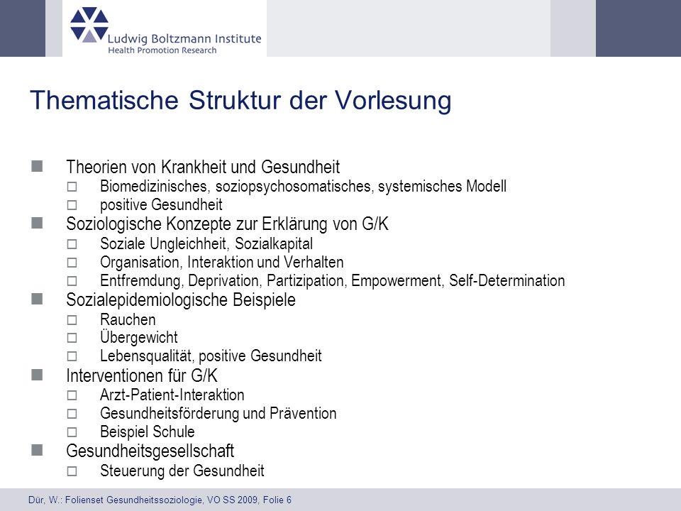 Dür, W.: Folienset Gesundheitssoziologie, VO SS 2009, Folie 6 Thematische Struktur der Vorlesung Theorien von Krankheit und Gesundheit Biomedizinische