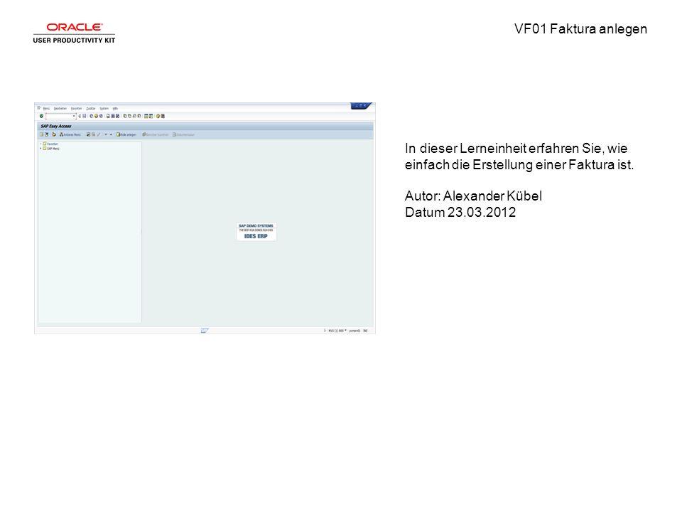 VF01 Faktura anlegen Schritt1 Geben Sie die gewünschten Informationen in das Feld ein.