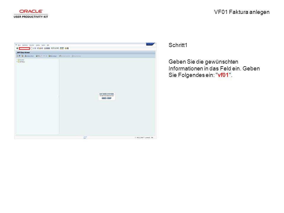 VF01 Faktura anlegen Schritt2 Drücken Sie [Enter].