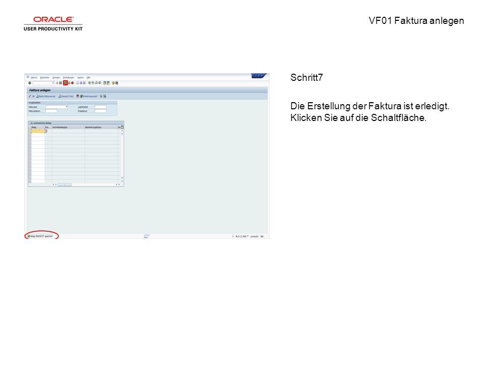 VF01 Faktura anlegen Schritt7 Die Erstellung der Faktura ist erledigt.