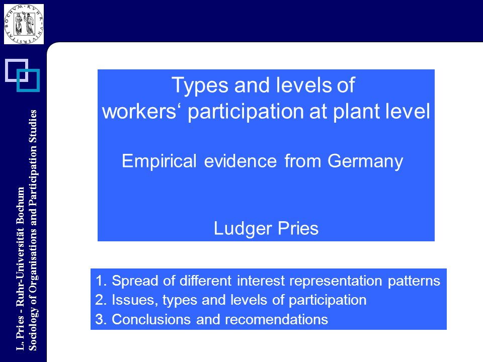 L. Pries - Ruhr-Universität Bochum Sociology of Organisations and Participation Studies Types and levels of workers participation at plant level Empir