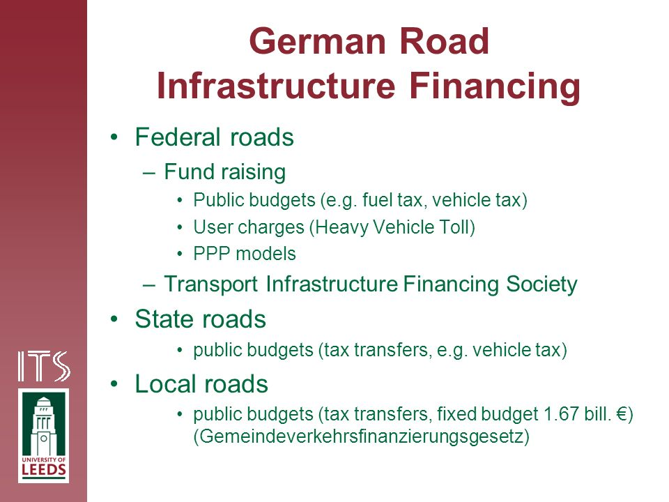 German Road Infrastructure Financing Federal roads –Fund raising Public budgets (e.g.