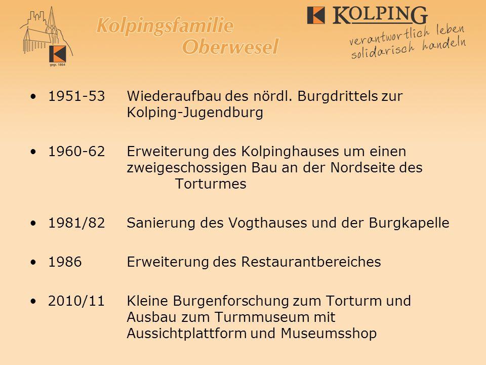 Kolping – Ausbau-Aktivitäten auf der Burg 1951-53Wiederaufbau des nördl. Burgdrittels zur Kolping-Jugendburg 1960-62Erweiterung des Kolpinghauses um e