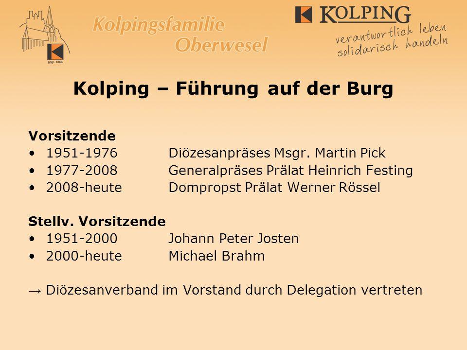 Kolping – Führung auf der Burg Vorsitzende 1951-1976Diözesanpräses Msgr. Martin Pick 1977-2008Generalpräses Prälat Heinrich Festing 2008-heuteDomprops
