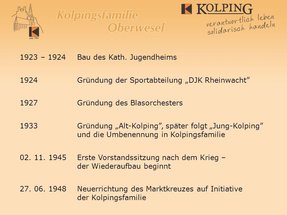 1923 – 1924Bau des Kath. Jugendheims 1924 Gründung der Sportabteilung DJK Rheinwacht 1927 Gründung des Blasorchesters 1933 Gründung Alt-Kolping, späte