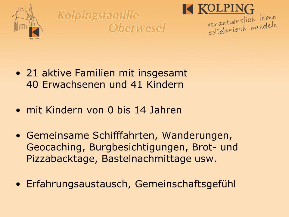 21 aktive Familien mit insgesamt 40 Erwachsenen und 41 Kindern mit Kindern von 0 bis 14 Jahren Gemeinsame Schifffahrten, Wanderungen, Geocaching, Burg