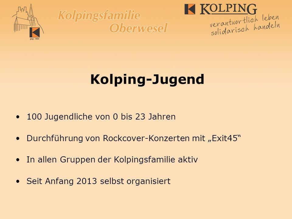 Kolping-Jugend 100 Jugendliche von 0 bis 23 Jahren Durchführung von Rockcover-Konzerten mit Exit45 In allen Gruppen der Kolpingsfamilie aktiv Seit Anf