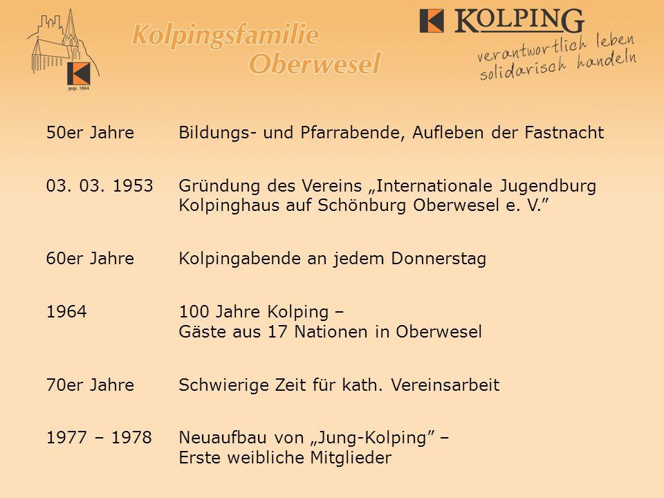 50er JahreBildungs- und Pfarrabende, Aufleben der Fastnacht 03. 03. 1953 Gründung des Vereins Internationale Jugendburg Kolpinghaus auf Schönburg Ober
