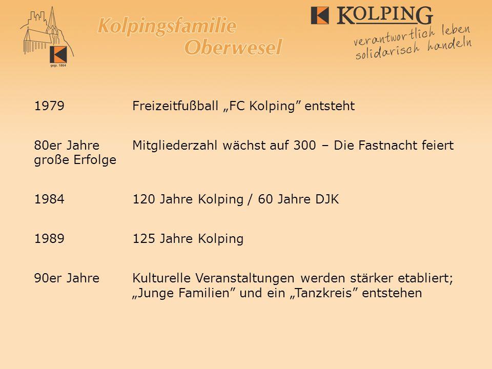 1979 Freizeitfußball FC Kolping entsteht 80er JahreMitgliederzahl wächst auf 300 – Die Fastnacht feiert große Erfolge 1984 120 Jahre Kolping / 60 Jahr