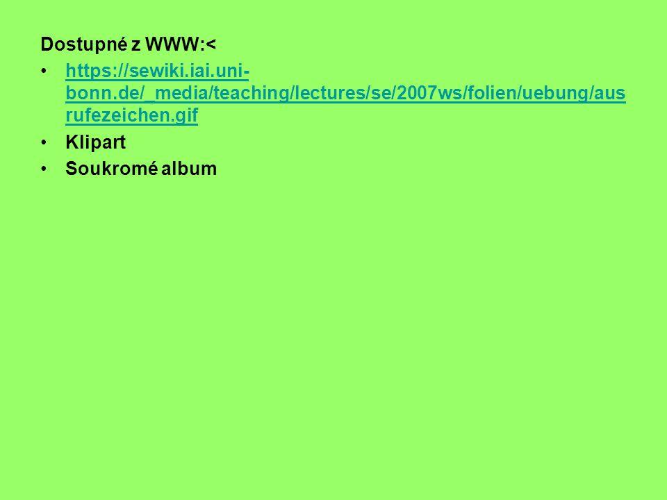 Dostupné z WWW:< https://sewiki.iai.uni- bonn.de/_media/teaching/lectures/se/2007ws/folien/uebung/aus rufezeichen.gifhttps://sewiki.iai.uni- bonn.de/_media/teaching/lectures/se/2007ws/folien/uebung/aus rufezeichen.gif Klipart Soukromé album